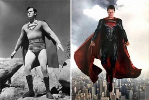 Penampilan Superman jaman dulu dan sekarang