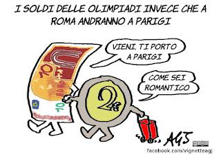 Olimpiadi 2024, roma, parigi, vignetta, satira