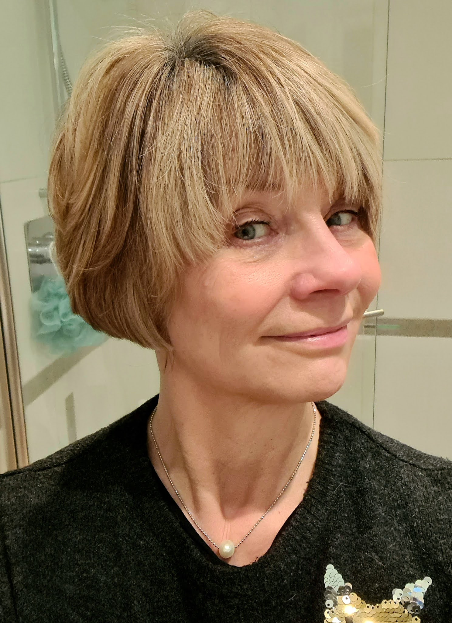 Over 50s style blogger Gail Hanlon from Is This Mutton after a hair cut at Toni and Guy, Epping, Dexember 2020