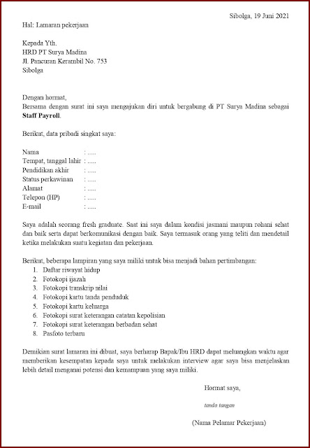 Contoh Application Letter Untuk Staff Payroll (Fresh Graduate) Berdasarkan Inisiatif Sendiri