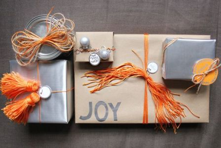 colorful silver, brown and orange Christmasgift wrapping