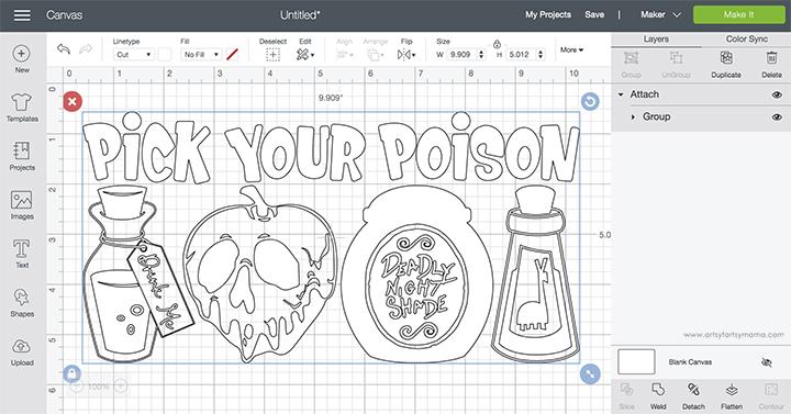 Pick Your Poison Cricut Design Space