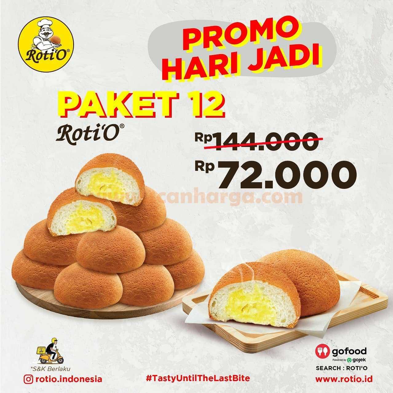 Promo Roti'o Hari Jadi Gofood - Diskon 50% untuk 5 Paket Roti dan Minuman