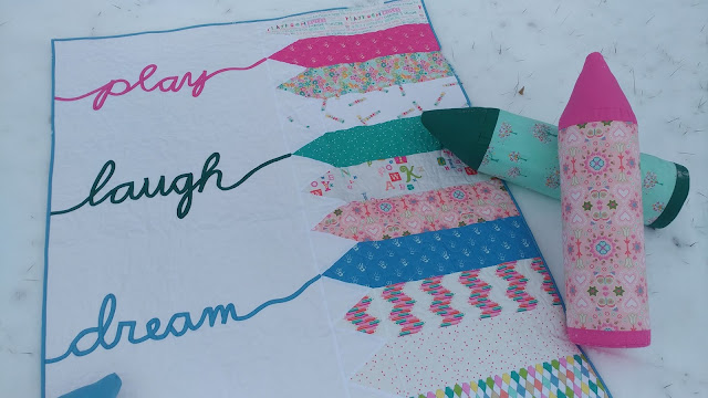 Crayon quilt tutorial with bias tape words