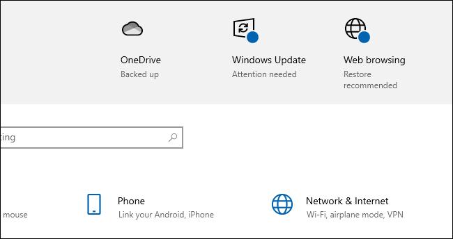 """يقول Windows 10 أنه يجب """"استعادة إعدادات تصفح الويب الموصى بها""""."""