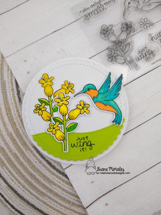 Just wing it by Diane features Circle Frames, Land Borders, and Hummingbird by Newton's Nook Designs; #newtonsnook