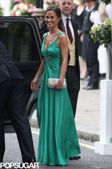 Pippa Middleton vestido longo verde, irmã da Kate