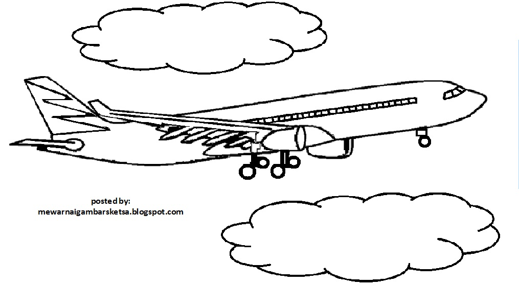 Mewarnai Gambar Mewarnai Gambar Sketsa Transportasi Pesawat 3