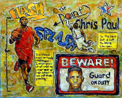 Phoenix Suns basketball player point guard Chris Paul dribbling and shooting basketball