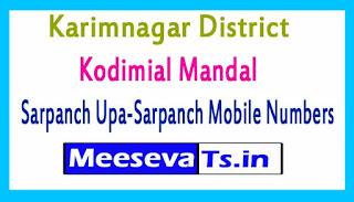 Kodimial Mandal Sarpanch Upa-Sarpanch Mobile Numbers List Karimnagar District in Telangana State