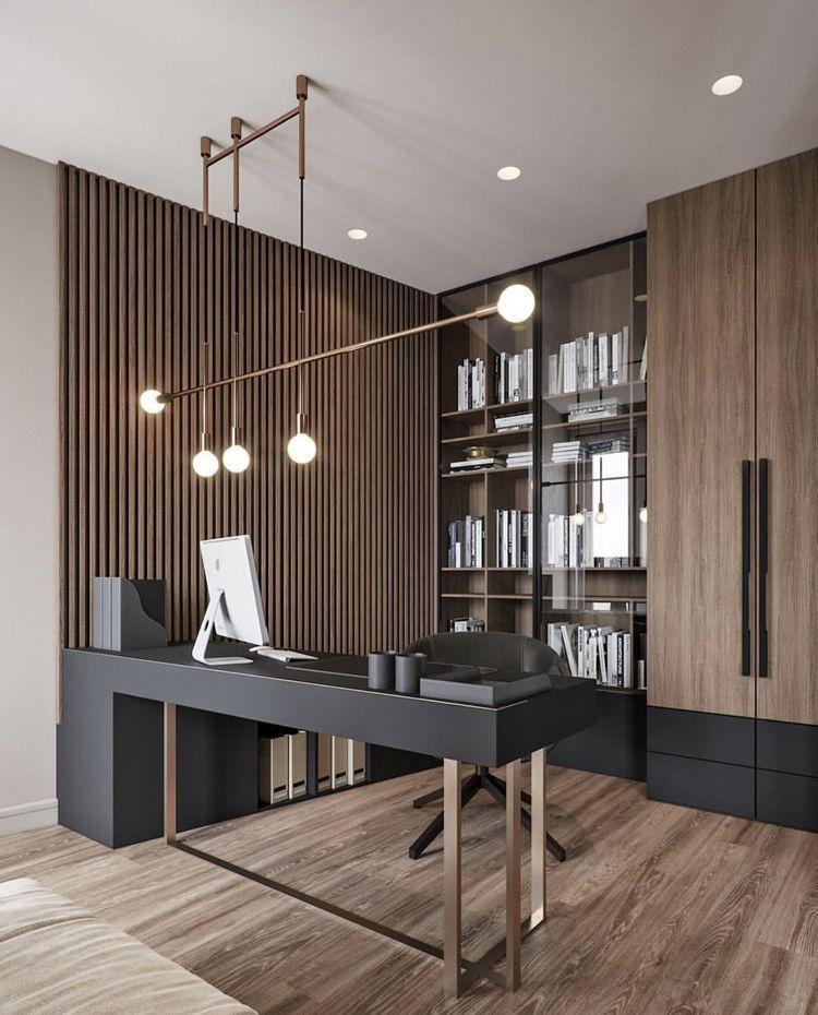 Dekorasi Ruang Kerja Perpaduan Warna Coklat dan Hitam
