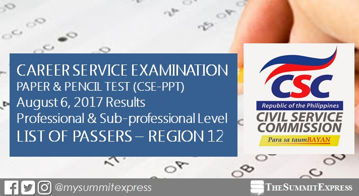 August 2017 Civil Service exam results, passers list (Region 12)
