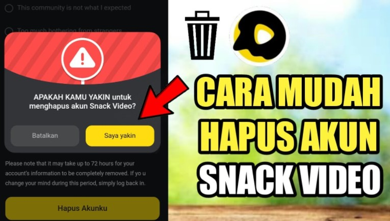 Cara Hapus Akun Snack Video