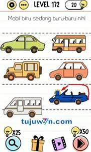 Jawaban level 172 mobil biru sedang buru-buru nih! brain test