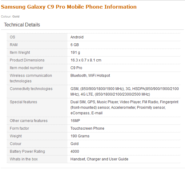 Samsung Galaxy C9 Pro (Gold, 6GB RAM) - Additional Information