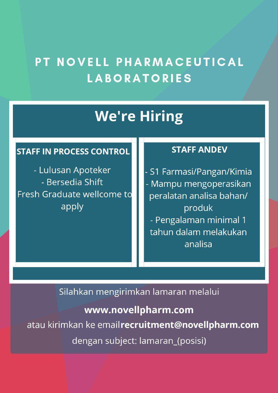 Lowongan Kerja PT. Novell Pharmaceitocal Laboratories Januari 2019