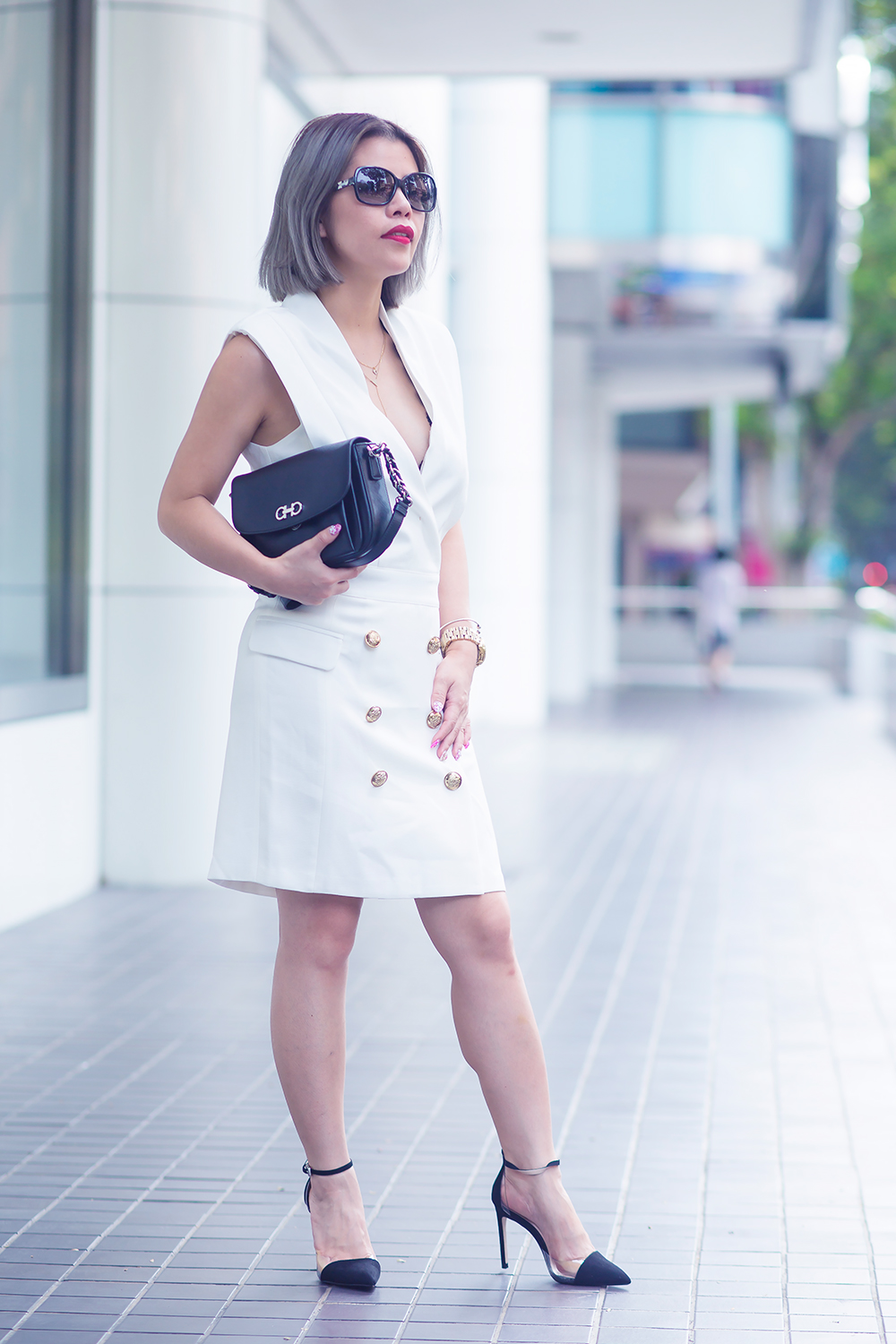 Crystal Phuong x Revolve Clothing- White blazer dress and black pumps