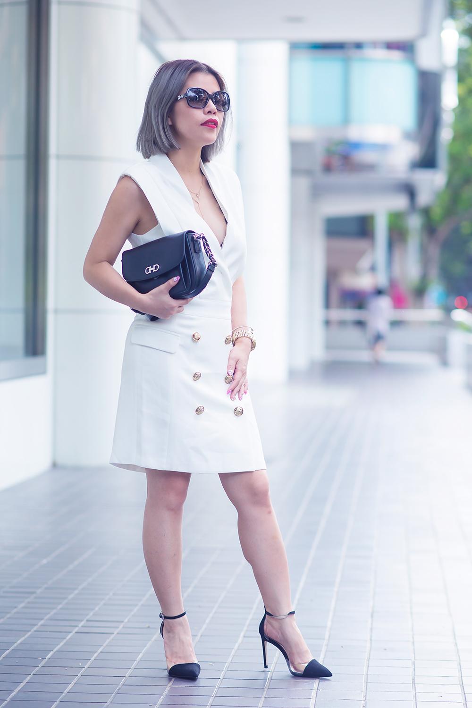Crystal Phuong x Revolve Clothing- White blazer dress and black pumps