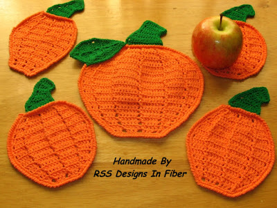 Made-To-Order Pumpkin Coasters Listing - Handmade By Ruth Sandra Sperling at RSS Designs In Fiber