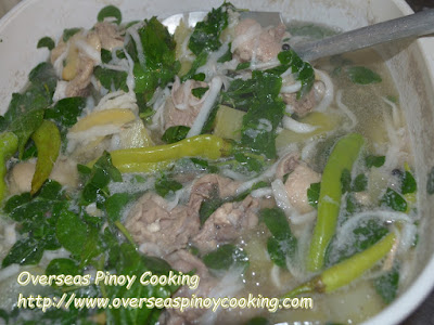 Tinolang Manok sa Buko - Cooking Procedure