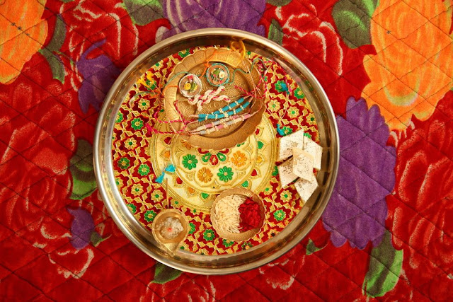 Decorated Thali Rakhi Images
