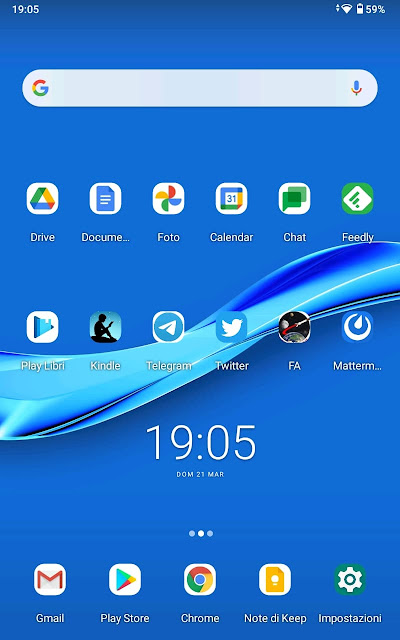 Home screen of a Lenovo Tab M8 HD with Android 10