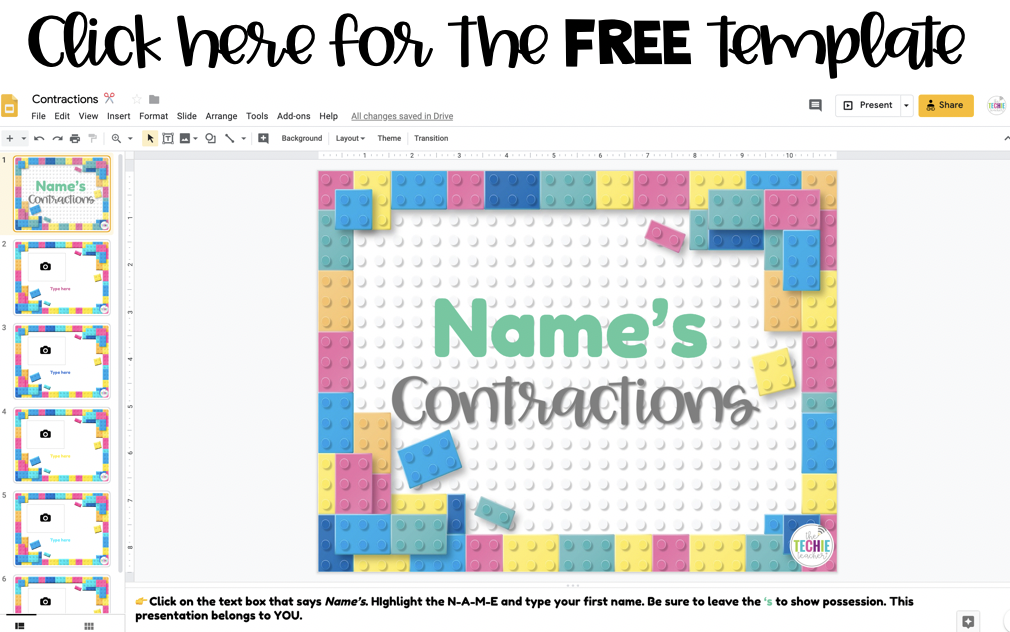 Free Google Slides template for Contractions practice with Legos