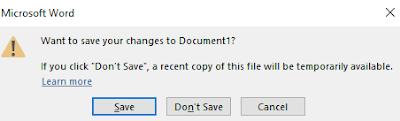 Pilih Save Untuk Menyimpan Hasil Program Microsoft Word