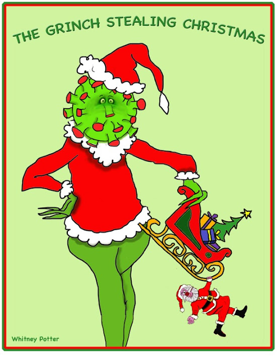 The cartoon grinch is dangling a toy sled with a tiny Santa hanging on to one runner. The Grinch's head - with a Santa cap - is the COVID-19 virus