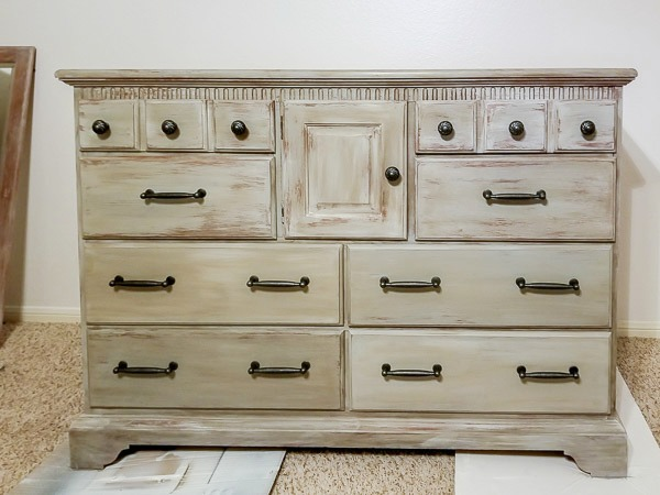 weathered wood dresser with new hardware