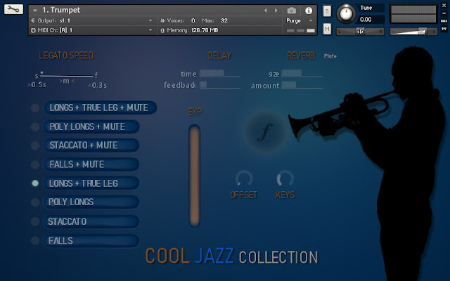 Interface da Library Insanity Samples - The Cool Jazz Collection (KONTAKT)