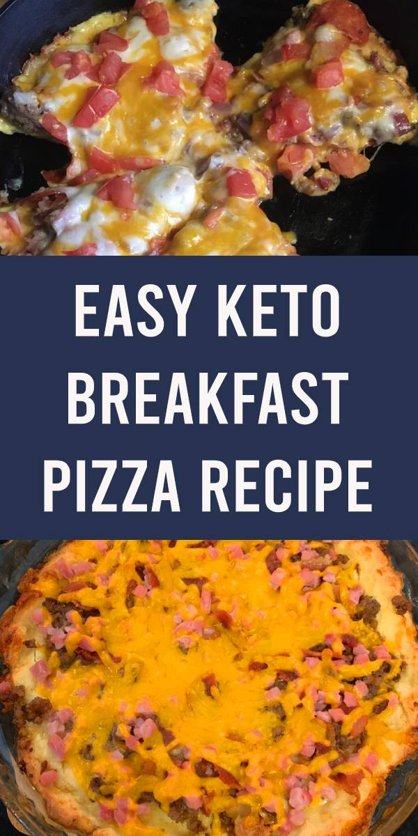 Pizza for breakfast? Yes please! Keto pizza for breakfast, even better! This meat lovers breakfast pizza is put together on top of a fat head pizza dough. The fat head dough recipe is SUPER simple to put together then add your toppings. You can can have this delicious, healthy breakfast on the table in just 20 minutes! #keto #breakfast #pizza #recipes #homemade