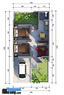 Contoh Desain dan denah rumah tipe 36