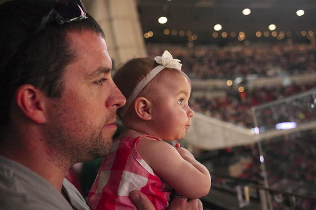 Father and daughter enjoying the Houston Rodeo