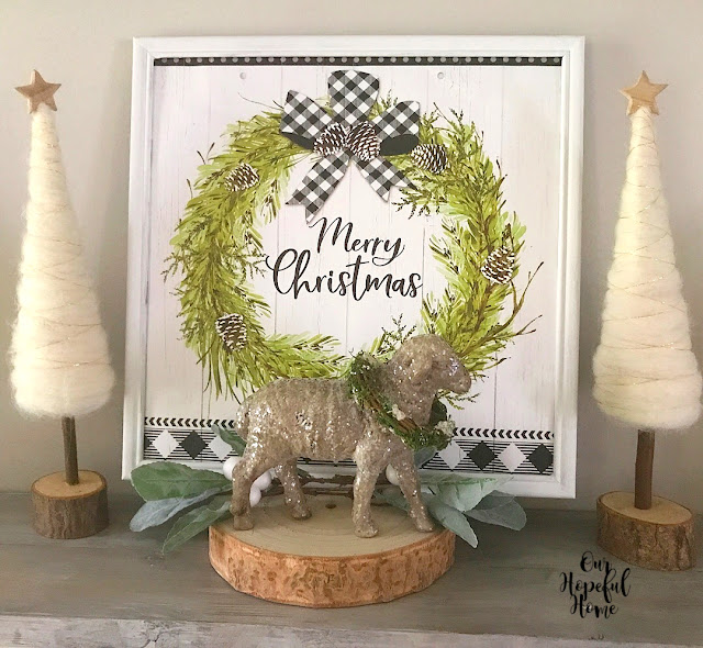 frame merry christmas art felt tree star sheep