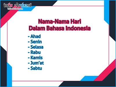 Daftar Nama Nama Hari Dalam Bahasa Indonesia