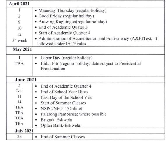DepEd amends school calendar for SY 2020-2021