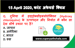 Daily Current Affairs Quiz in Hindi 15 April 2020