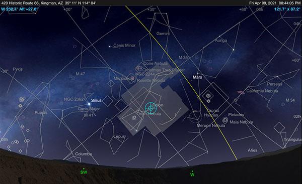 Ski Safari Pro screenshot showing ecliptic in westward view (Source: Palmia Observatory)