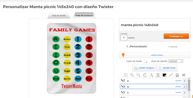 Wanapix manta personalizada twister family games