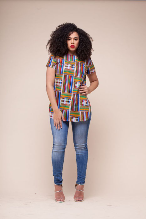 ankara blouse and blue jeans (5)