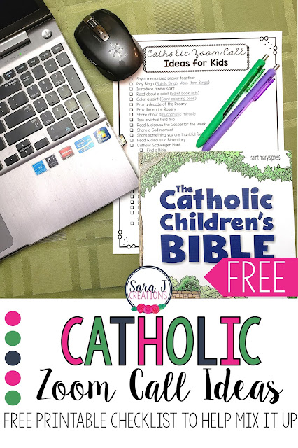 Free printable list of specifically Catholic ideas that you can do on a class Zoom call or Google Meet. Teach and share the faith with your students during distance learning. Don't let remote learning stop you from making those connections and praying with your students.
