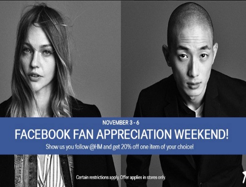 H&M Facebook Fan Appreciation Weekend 20% Off Coupon