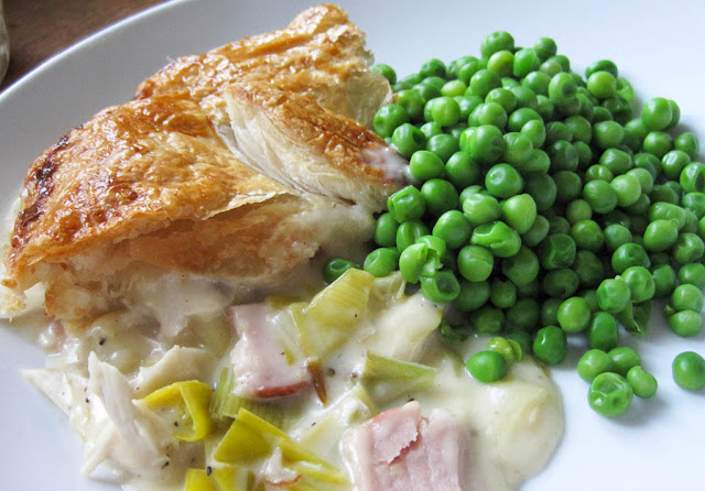 Chicken Leek and Ham Pie with Peas and Mash