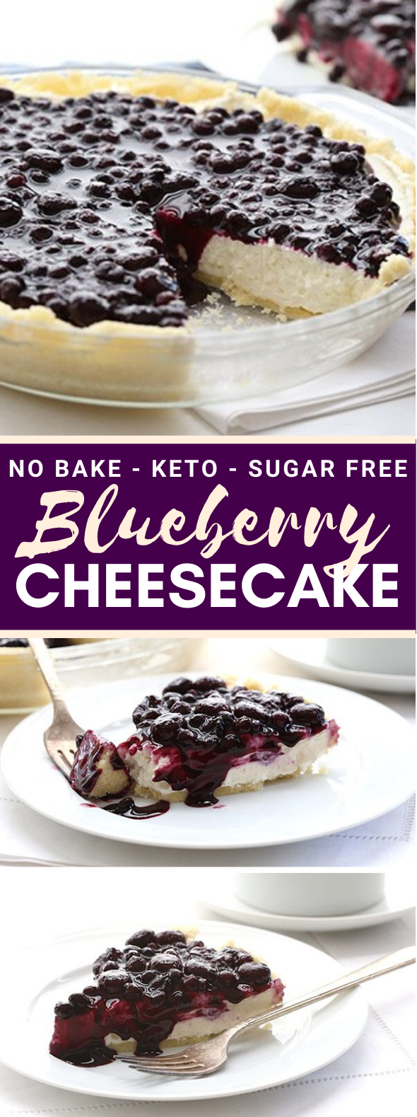 NO BAKE BLUEBERRY CHEESECAKE PIE #healthy #ketodiet