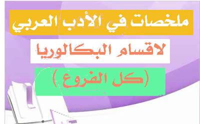 ملخصات الأدب العربي لاقسام البكالوريا %D9%85%D9%84%D8%AE%D