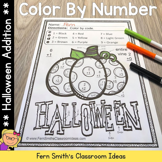 Halloween Color By Number Addition #FernSmithsClassroomIdeas