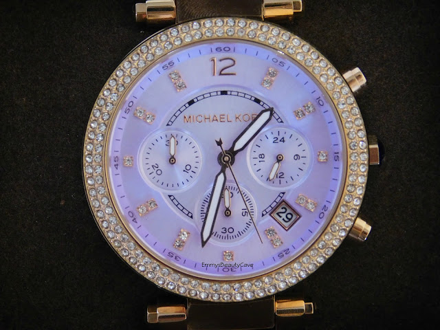 Womens Michael Kors Purple Face Rose Gold Watch