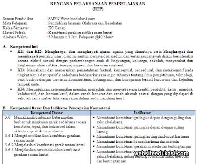 RPP PJOK Kelas 9 Semester 2 Kurikulum 2013 Revisi 2020