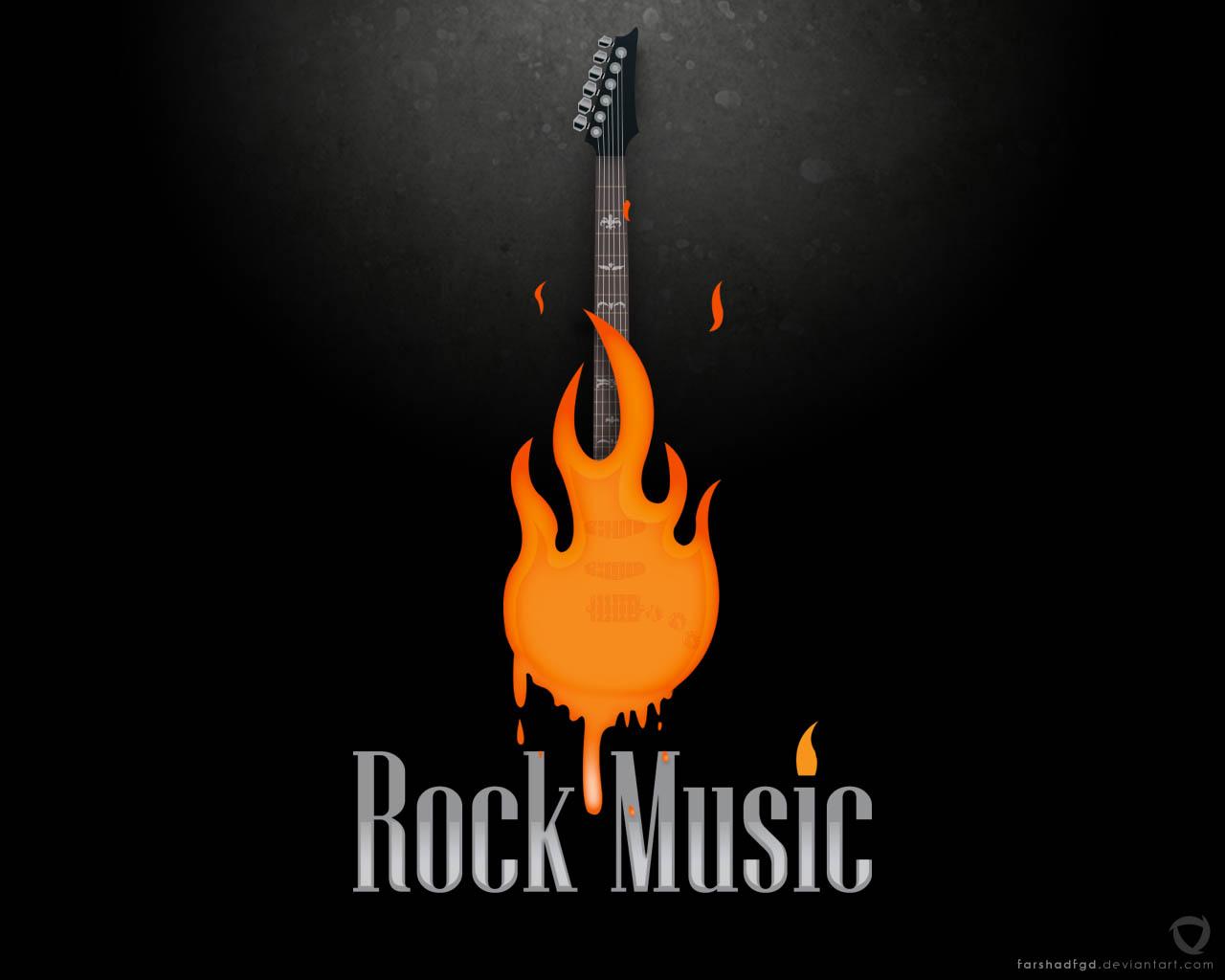 Accessible Novelties: The Rock Guitar Fire Wallpaper